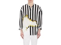 Haider Ackermann Men's Striped Stain Print Silk Oversized Shirt Black White No Color