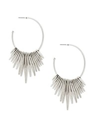 Steve Madden Dangling Fringe Open Hoop Earrings Silver