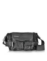 Dsquared2 Medium Black Canvas And Leather Military Shoulder Bag