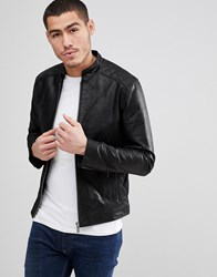 Solid Leather Jacket With Quilting Black