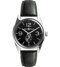 Bell And Ross Br123black Vintage Original Satin Steel And Leather Watch