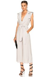 Norma Kamali Double Breasted Trench Jumpsuit In Neutrals