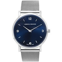 Larsson And Jennings Lugano 38Mm Silver Stainless Steel Chain Metal Watch Silver Navy Silver