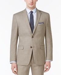 Alfani Men's Slim Fit Traveler Light Brown Neat Jacket Only At Macy's