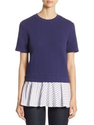 Carven Babydoll Layered Top Blue