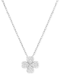 Swarovski Rhodium Plated Crystal Pave Four Leaf Clover Pendant Necklace Silver
