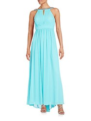 Laundry By Shelli Segal Jeweled Halter Gown Turquoise
