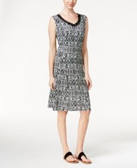 Jm Collection Petite Printed V Neck Dress Only At Macy's Black Ombre Medal
