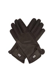Burberry Technical Panel Leather Gloves Black