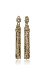 Oscar De La Renta Long Beaded Tassel Earrings Silver
