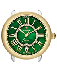 Michele Serein 16 Two Tone Gold Green Diamond Dial Watch Head 34Mm