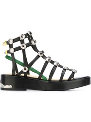 Toga Low Heel Gladiator Sandals Black
