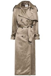 Each X Other Woman Belted Satin Trench Coat Taupe