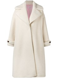 Olympia Le Tan Contrast Button Coat Wool White