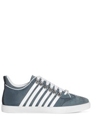 Dsquared 251 Stripes Leather Low Top Sneakers Blue