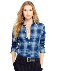 Polo Ralph Lauren Long Sleeve Plaid Shirt Navy Blue Sky