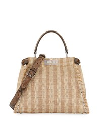 Fendi Peekaboo Medium Straw And Python Whipstitch Satchel Bag Natural Brown Natural Brown