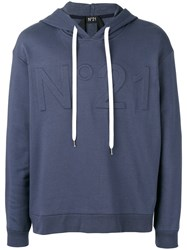 N 21 No21 Logo Hoodie Men Cotton Polyamide M Blue