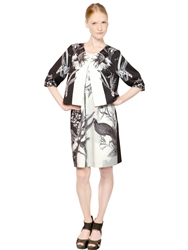 Gaowei Xinzhan Floral Print Short Sleeved Jacket Black White