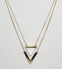 Glamorous Marble Triangle Necklace Gold
