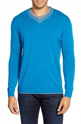 Men's Bugatchi Contrast Trim V Neck Sweater Teal