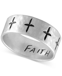 Rachel Roy Silver Tone Etched Cross Ring