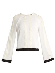 Zeus Dione Melissa Striped Raw Silk And Chiffon Blouse Ivory