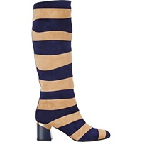 Lanvin Striped Knee High Boots Dasrk Blue And Beige Stripe