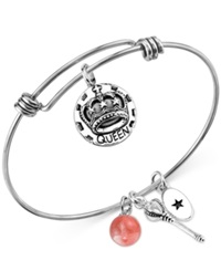 Unwritten Queen Of Everything Charm And Cherry Quartz 8Mm Bangle Bracelet In Stainless Steel