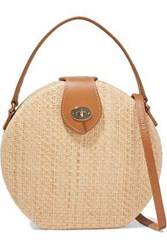 Kayu Woman Peyton Leather Trimmed Woven Straw Shoulder Bag Beige