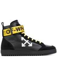 Off White High Top Sneakers Men Leather Rubber 39 Black