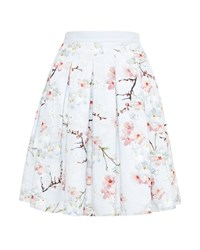 Ted Baker Tillye Oriental Blossom Pleated Skirt Light Grey