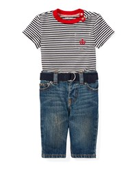 Ralph Lauren Striped Jersey Ringer Tee W Jeans And Belt Size 6 24 Months White