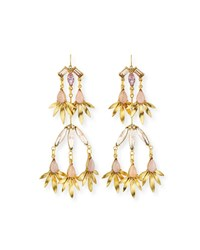 Sequin Tiered Pink Crystal Statement Earrings Gold