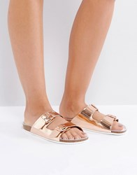 Sixty Seven Sixtyseven Flat Leather Slide Sandal Rose Gold Copper