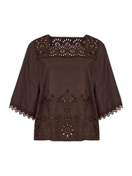 Max Mara Catone Short Sleeve Broderie Cotton Mix Top Dark Brown