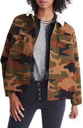 Madewell Northward Camo Army Jacket With Faux Shearling Collar Bunny Camo
