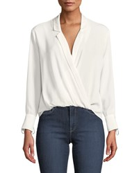 Likely Georgette Draped V Neck Long Sleeve Top White