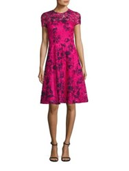 David Meister Embroidered Lace Fit And Flare Dress Pink Navy