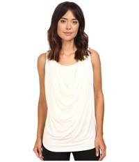 Christin Michaels Freida Sleeveless Cowl Neck Top With Built In Camisole Beige Women's Sleeveless
