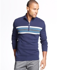 John Ashford Big And Tall Chest Stripe Quarter Zip Sweater Navy Blue
