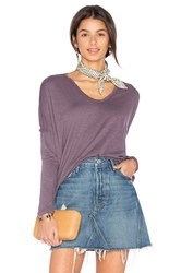 Stateside V Neck Long Sleeve Tee Purple