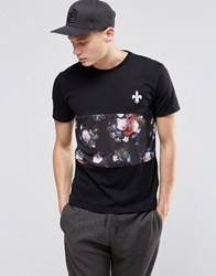 Criminal Damage Floral Stripe T Shirt Black