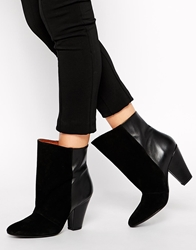 Selected Vera Black Leather Heeled Ankle Boots