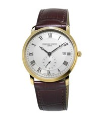 Frederique Constant Slimline Stainless Steel And Croc Embossed Leather Strap Watch Black