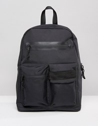 Asos Backpack In Black With Front Pockets Black