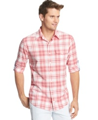 Izod Lightweight Plaid Pocket Long Sleeve Shirt Tea Rose