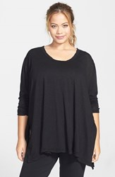 Plus Size Women's Hard Tail Oversize Three Quarter Sleeve Tee