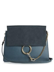 Chloe Faye Medium Suede And Leather Shoulder Bag Navy