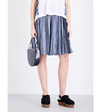 Sacai Denim Detail High Rise Pleated Cotton Blend Skirt Navy